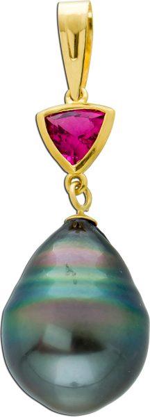 Perlen Anhänger Gelbgold 585 pinker Topas Edelstein triangelförmig graue Tahitizuchtperle