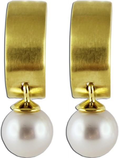 Perlen Ohrringe weiß cremefarben Gelb G...
