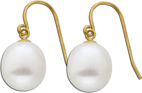 Weiße Perlen Ohrhänger Gelb Gold 585 1...