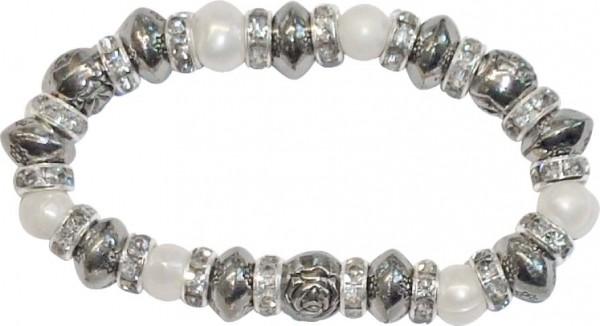 Crystal Blue Dehnbares Armband mit 17 echten Süßwasserzuchtperlen und funkelnden Zwischenteilen und funkelnden abramowskikristallen der Knallerpreis aus stuttgart