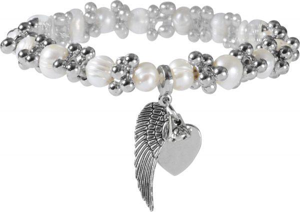 Crystal Blue Dehnbares Armband Engelsflügel Süßwasserzuchtperlen Perlenschmuck