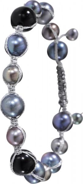 Set Perlenkette Shamballa Armband Süßwasserzuchtperlen Onyx