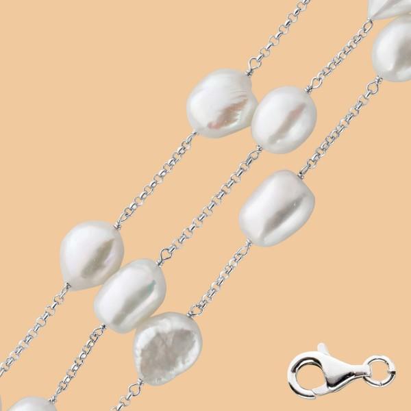 Perlenkette Collier Silber 925 Kette wei...