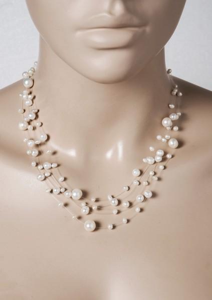 Perlenkette  5-reihig Nylonfaden Silber 925 weisse Süsswasserperlen