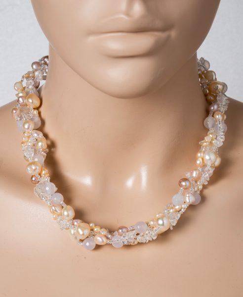 Perlen Edelstein Kette Collier Süsswasserperlen rosa-cremefarben Kristall Achat weiss Silber 925