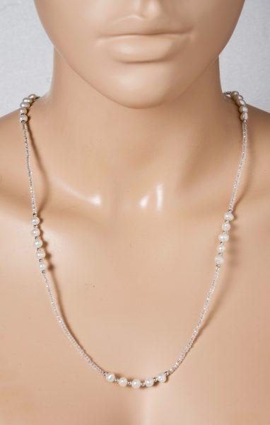 Perlen Kristall Kette Collier weisse Barockperlen Süsswasserperlen weisse Kristalle 67cm Silberverschluss 925