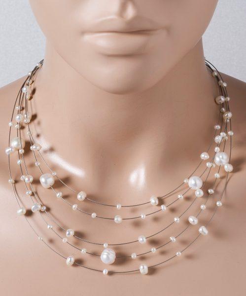 5-reihige Perlenkette weisse Süsswasserperlen 3-9mm Federringverschluss 925/- 40+7cm Länge versetzt