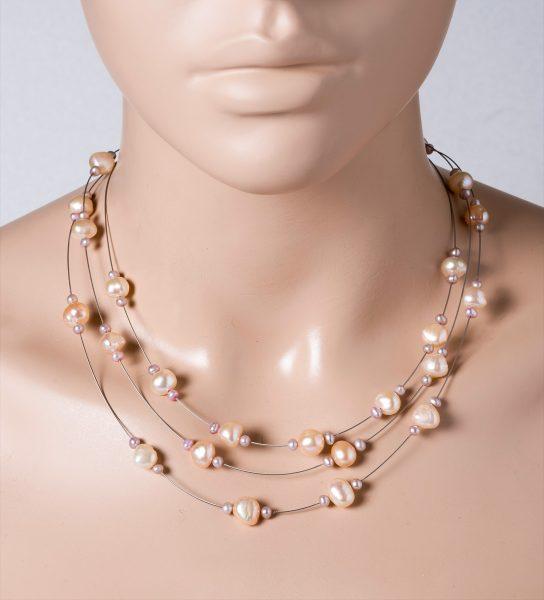 Perlen Collier Halskette 3-reihig Süsswasserperlen lila-pfirsichfarben Edelstahldraht Silber 925 Verschluss 43+5cm