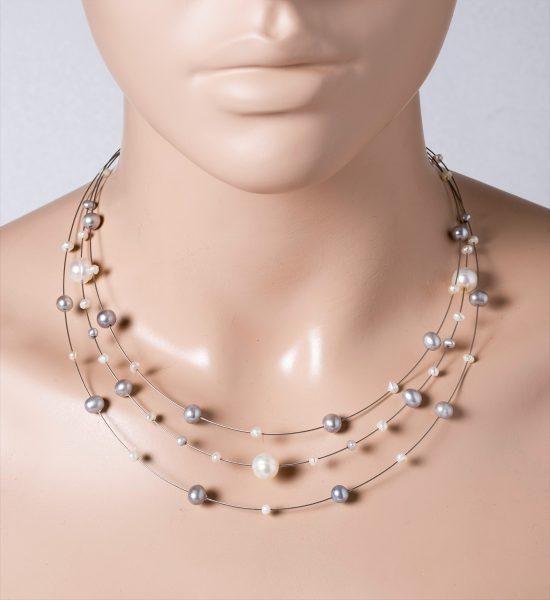 Perlen Collier Halskette 3-reihig weiss graue Süsswasserperlen Edelstahldraht Silber 925 Federring 43+5cm