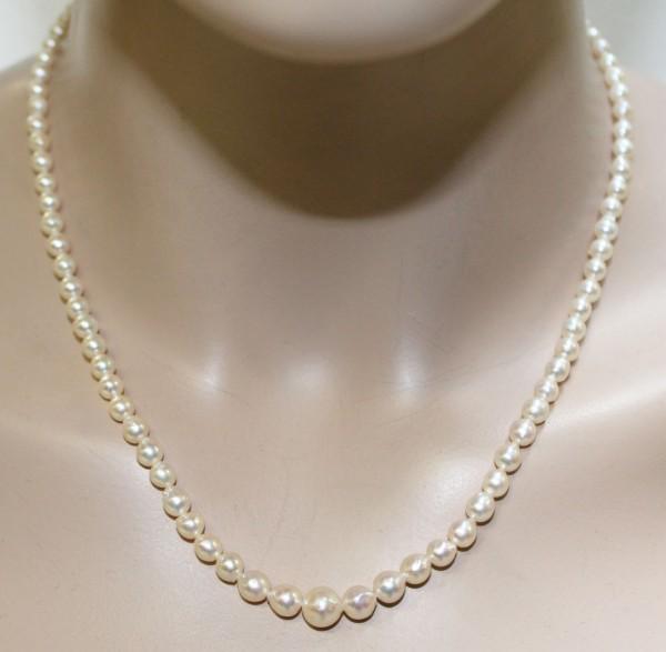 Perlenkette japanische Akoyazuchtperlen ...