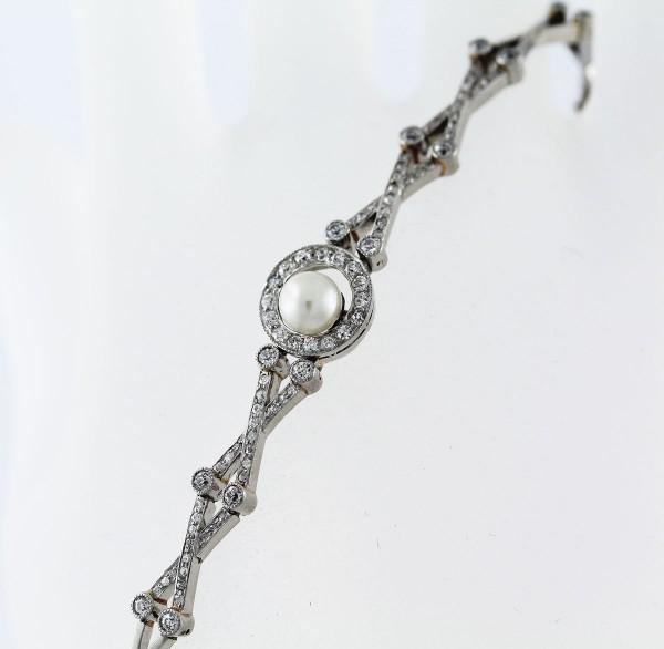 Platin Armband 950/- japanischen Akoyazuchtperle – ca 1,50ct W/P Altschliff Brillanten im Art Deco Stil