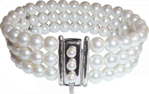 Akoyazuchtperlen-Armband mit Schiebeverschluss mit einem Druckknopf in Silber Sterlingsilber 925/-, mattiert . Wunderschöne runde Perlen, fast makellos mit weiß/rose-farbener Lustre. Länge 20cm, Durchmesser der Perlen 7mm. Ein sehr schönes Einzelstück nur
