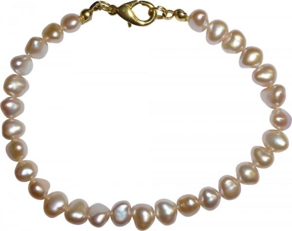 Süsswasserzuchtperlen-Armband mit einem goldfarbenen Verschluss. Dieses Einzelstück hat ein schönes Lustre in rose, eine Länge von 19cm, Durchmesser der Perlen 7mm. ABRAMOWICZ , die feine Goldschmiede aus Stuttgart seit 1949.