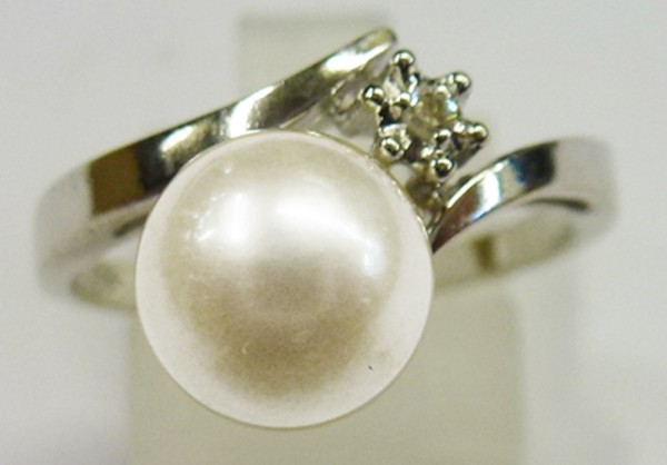 UNIKAT Perlen Ring Weissgold 585/- jap A...