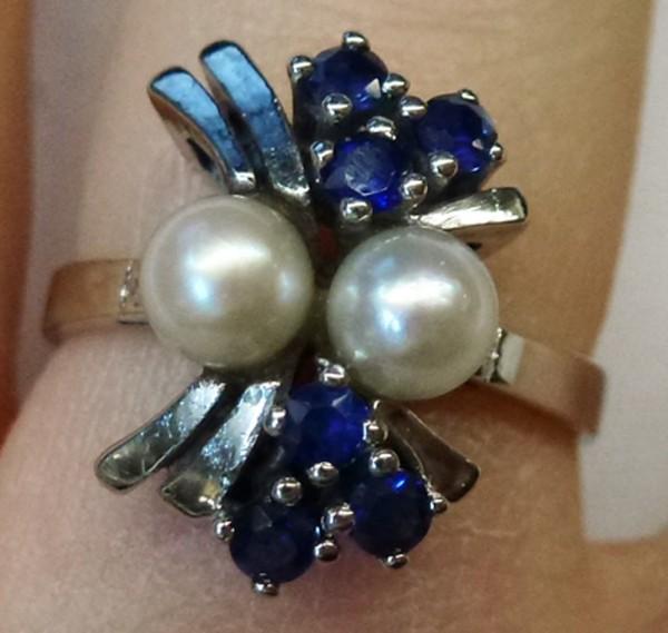Ring Weissgold 333/- nachtblauen Safiren...