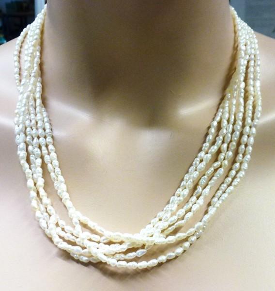 Vintage Schmuck – Perlenkette – Perlencollier Armband Set Süßwasserzuchtperlen 6-reihig