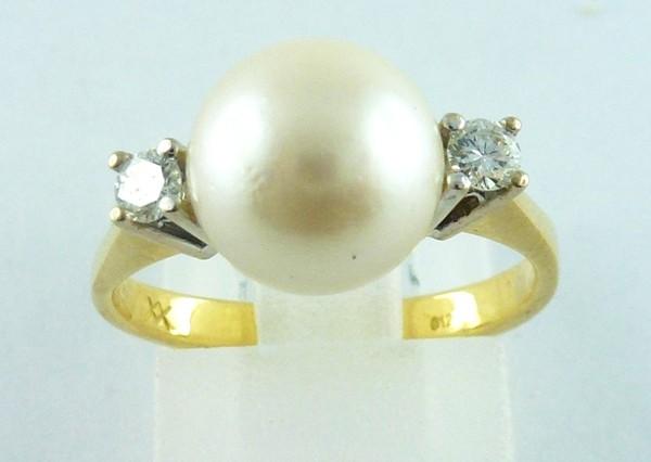 Ring 18kt Weiß-Gelbgold 2 Brillanten 1 ...