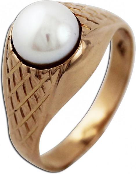 Antiker Ring – Perlenring Rotgold 750 japanische Akoyazuchtperle