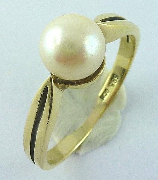 Ring – Goldring Gelbgold 585 japanische Akoyazuchtperle
