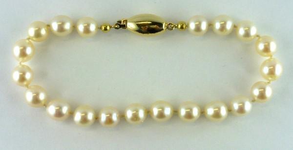 Armband Akoyaperlenarmband japanische Akoyazuchtperlen Verschluss Gelbgold 585/-