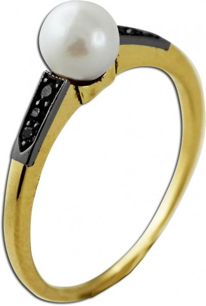 Perlenring – Gelbgold 585 Japanische Akoyazuchtperle 6  schwarzen Diamanten 8/8 W/P