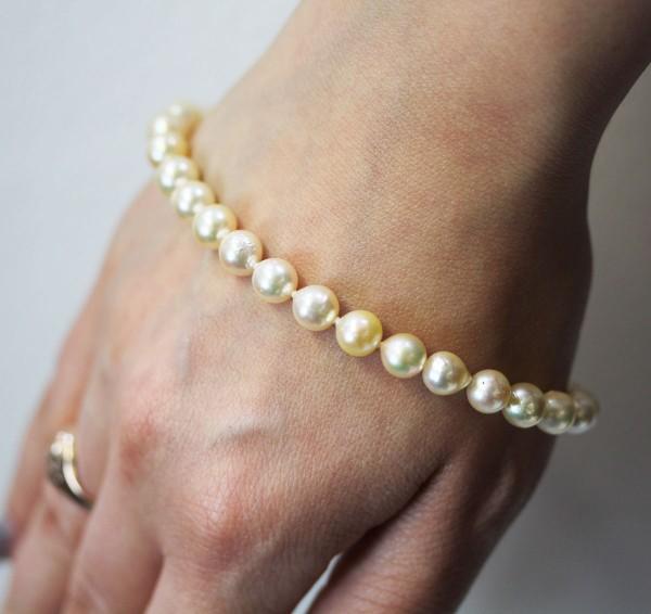 Perlenarmband japanische Akoyazuchtperle...