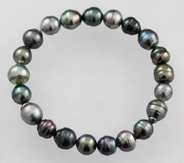 Perlenarmband Tahitizuchtperlen grauanthrazit changierend