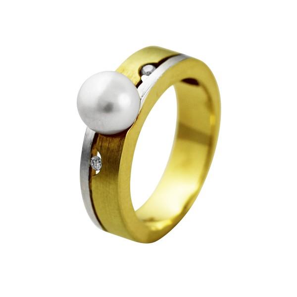 Perlenring – Gelbgold/ Weißgold 5...