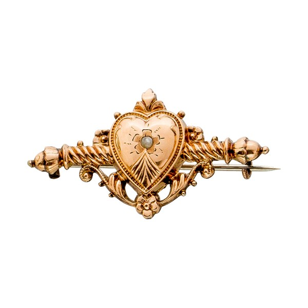 Antike Brosche Biedermeier um 1860 Rotgo...