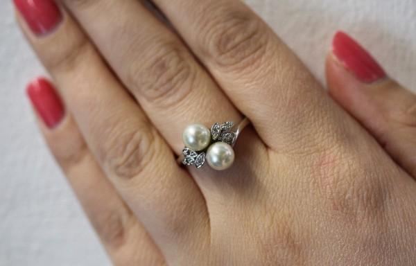 Ring Weissgold 585 mit jap. Akoyazuchtperlen und Diamanten 8/8 WP