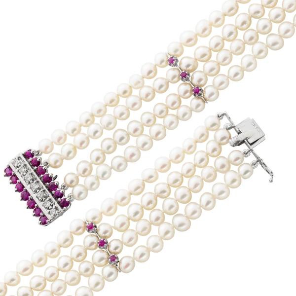 Armband – Perlenarmband japanische Akoyazuchtperlen Weißgold 585 7 Brillanten 0,63ct 14 Rubine 1,40ct