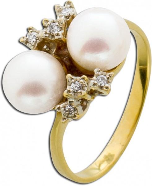 Ring – Perlenring Antik Gelbgold W...