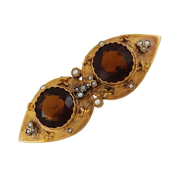 Anstecknadel – Brosche Antik Rosegold 585 Turmalin Orientperle