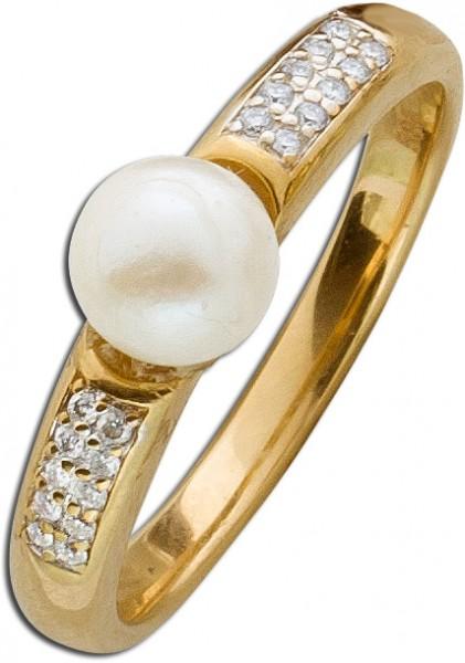 Ring – Perlenring Gelbgold 585 japanische Akoyazuchtperle 20 Brillanten 0,20ct W/SI