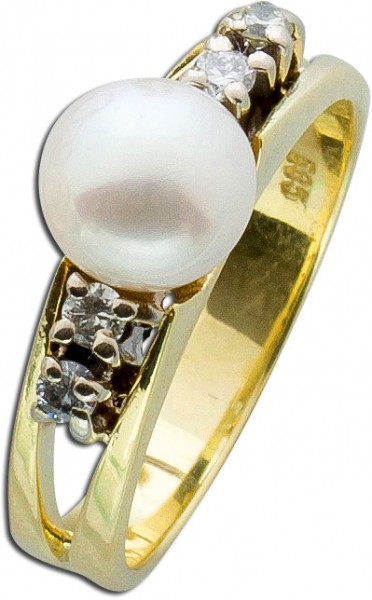 Ring – Perlenring Gelbgold 585 japanische Akoyazuchtperle 4 Brillanten 0,06ct TW/VSI