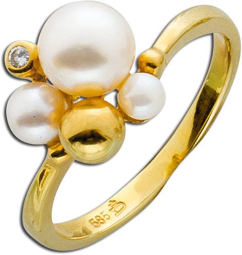 Ring – Perlenring Gelbgold 585 japanische Akoyazuchtperle 1 Brillant 0,015ct W/SI