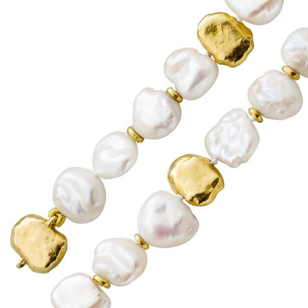 Armband – Perlenarmband japanische Biwazuchtperle Gelbgold 750