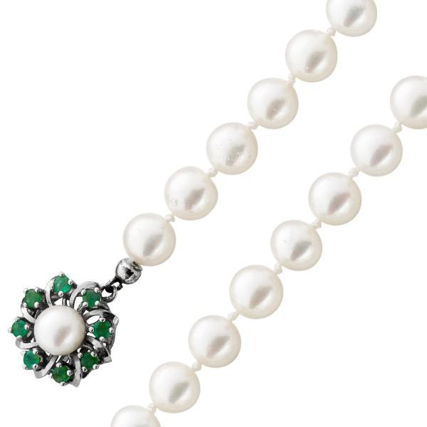 Perlenkette – Perlencollier Antik japanischen Akoyazuchtperlen Weißgold 585