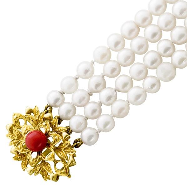 Armband – Perlenarmband japanische Akoyazuchtperle Gelbgold 750