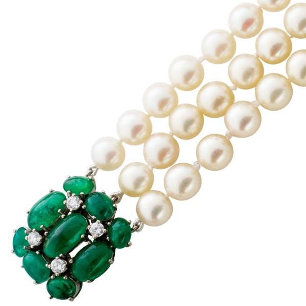 Perlenkette – Perlencollier Antik japanische Akoyazuchtperle Weißgold 750 4 Brillanten 0,40ct TW/VSI
