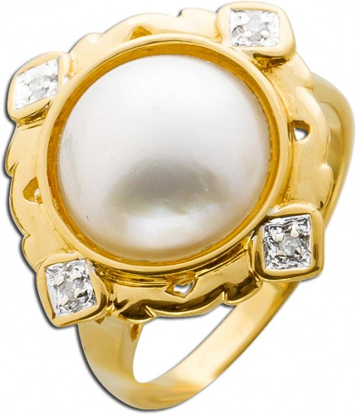 Mabeperlenring Gelbgold 585 Diamanten An...