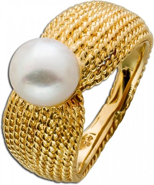 Ring Gelbgold 585 japanische Akoya Perle