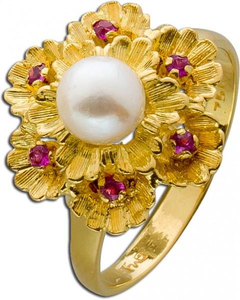 Ring Antik Gelbgold 750 japanische Akoya...