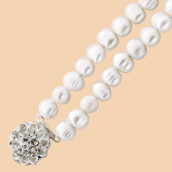 Armband – Perlenarmband Metall chinesiche Süßwasserzuchtperle 9 Zirkonia