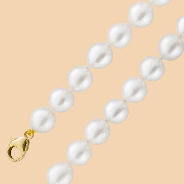 Perlen Kette – Collier japanische Akoyazuchtperle Karabiner Gelbgold 585 weiß rosé Lustre