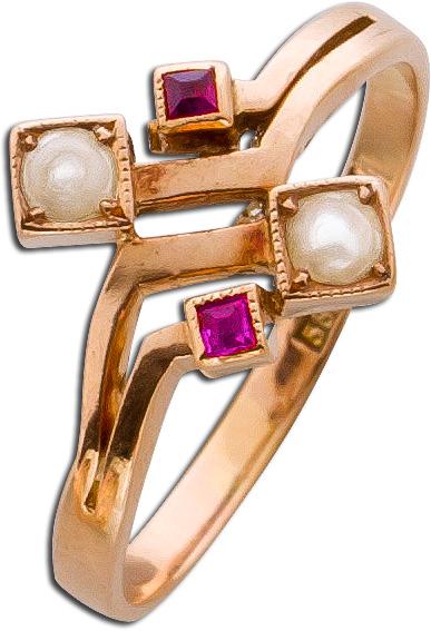 Ring Rosegold 585 antik um 1860 Orientperlen Rubine