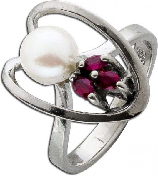 Roter Rubin Akoyazuchtperlen Ring Weissgold 585