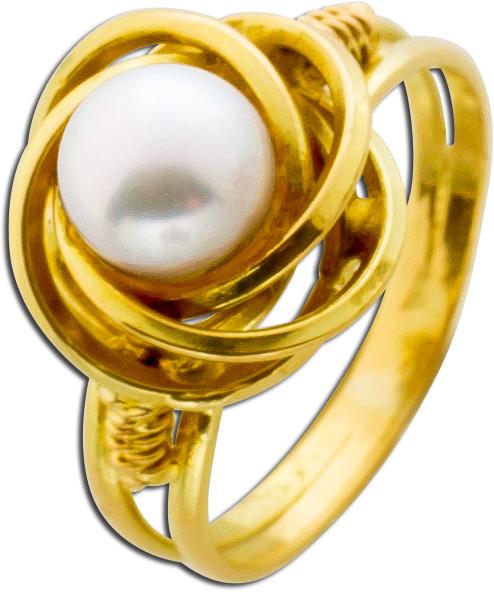 Ring Gelbgold 585 japanische Akoyazuchtperle Knotenring