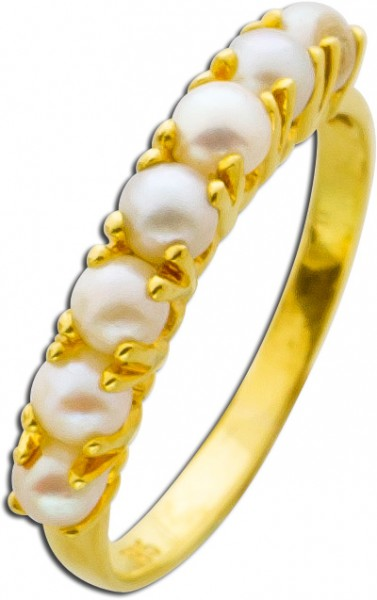 Antiker Ring Gelbgold 585 japanische Akoyazuchtperlen