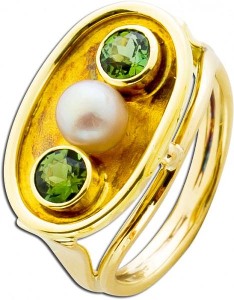 Peridot-/ Perlenring Gelbgold 585 Antik ...
